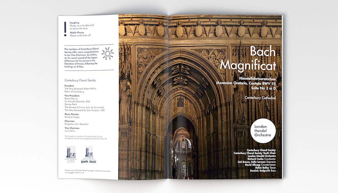 Bach Magnificat concert programme for Canterbury Choral Society